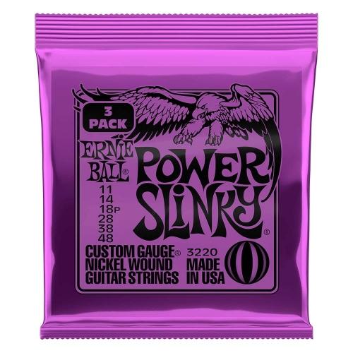 Ernie Ball 2220 Power Slinky voor Elektrische Gitaar (11-48) 3-Pack