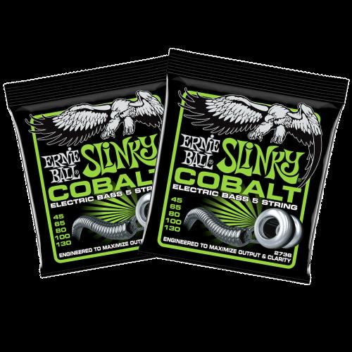 Ernie Ball 2736 Bass 5-Slinky Cobalt Snaren voor 5-Snarige Elektrische Basgitaar (45-130) 2-Pack