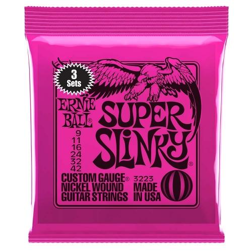 Ernie Ball 3223 (2223) Super Slinky Snaren voor Elektrische Gitaar (9-42) 3-Pack