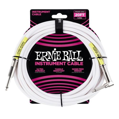 Ernie Ball EEB6047 Gitaarkabel 6 Meter Wit - Haaks/Rechte Plug