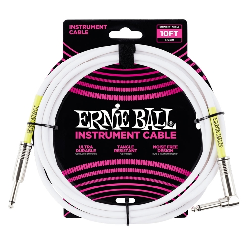 Ernie Ball EEB6049 Gitaarkabel 3 Meter Wit - Haaks/Rechte Plug
