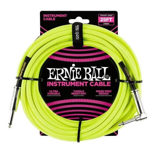 Ernie Ball EEB6057 Gitaarkabel 7.6 Meter Neon Geel - Haaks/Rechte Plug