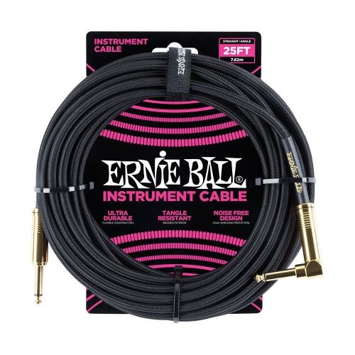 Ernie Ball EEB6058 Gitaarkabel 7.6 Meter Zwart - Haaks/Rechte Plug