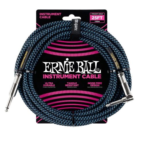 Ernie Ball EEB6060 Gitaarkabel 7.6 Meter Zwart/Blauw - Haaks/Rechte Plug