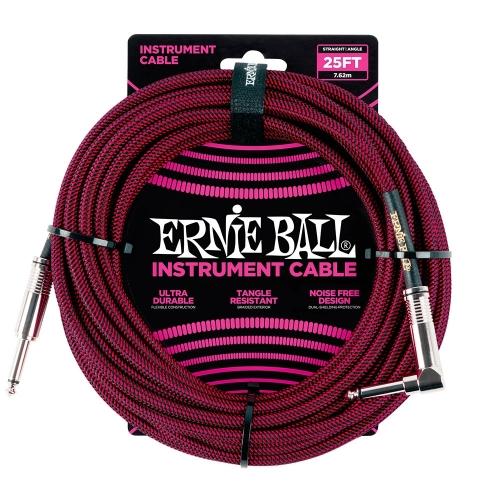 Ernie Ball EEB6062 Gitaarkabel 7.6 Meter Zwart/Rood - Haaks/Rechte Plug