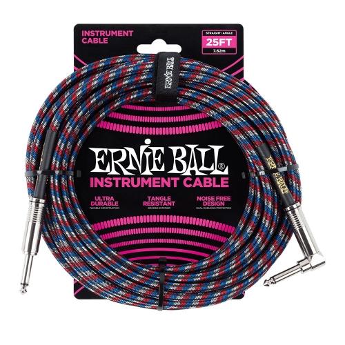 Ernie Ball EEB6063 Gitaarkabel 7.6 Meter Multi-Kleur - Haaks/Rechte Plug