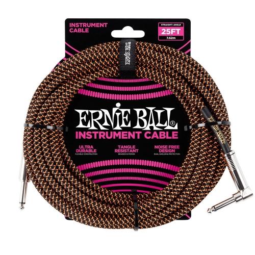 Ernie Ball EEB6064 Gitaarkabel 7.6 Meter Zwart / Oranje - Haaks/Rechte Plug