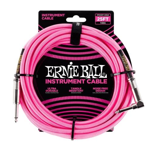 Ernie Ball EEB6065 Gitaarkabel 7.6 Meter Neon Roze - Haaks/Rechte Plug