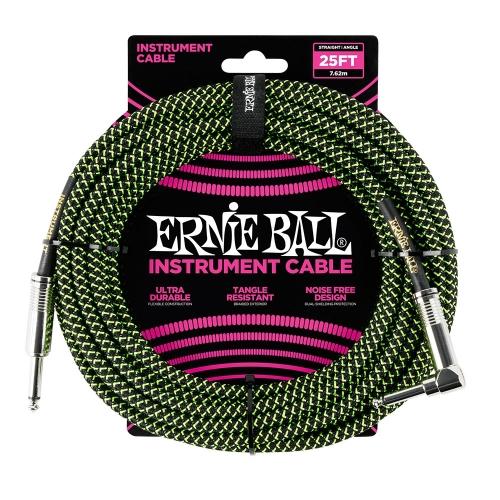 Ernie Ball EEB6066 Gitaarkabel 7.6 Meter Zwart / Groen - Haaks/Rechte Plug