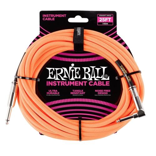 Ernie Ball EEB6067 Gitaarkabel 7.6 Meter Neon Oranje - Haaks/Rechte Plug