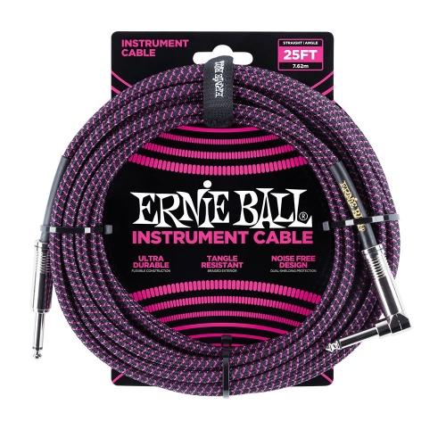 Ernie Ball EEB6068 Gitaarkabel 7.6 Meter Zwart / Paars - Haaks/Rechte Plug