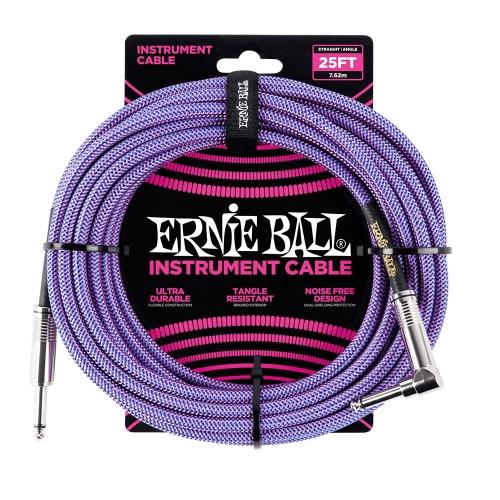 Ernie Ball EEB6069 Gitaarkabel 7.6 Meter Paars - Haaks/Rechte Plug