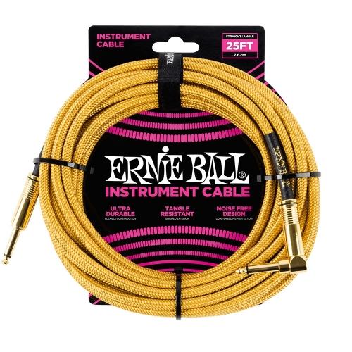 Ernie Ball EEB6070 Gitaarkabel 7.6 Meter Goud / Geel - Haaks/Rechte Plug