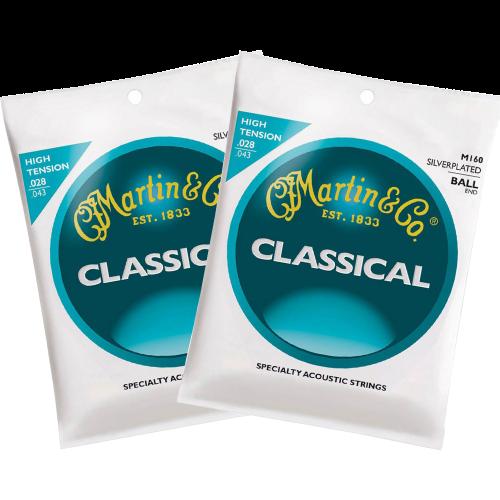 Martin M160 Klassieke Gitaarsnaren met Baleinde 2-Pack