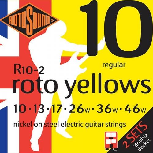 Rotosound R10-2 Roto Yellows Snarenset voor Elektrische Gitaar (10-46) 2-Pack