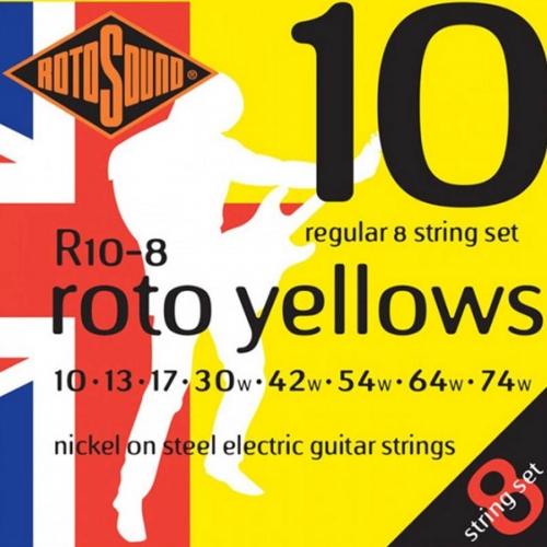 Rotosound R10-8 Yellows Gitaarsnaren voor 8-Snarige Elektrische Gitaar (10-74)