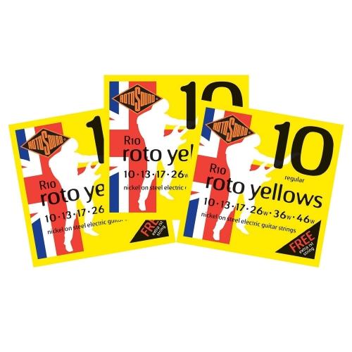 Rotosound R10 Roto Yellows Snarenset voor Elektrische Gitaar (10-46) 3-Pack