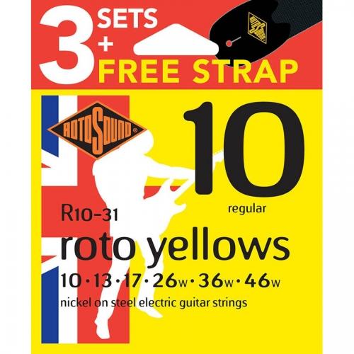 Rotosound R10-31 Roto Yellows Snarenset voor Elektrische Gitaar met Gratis Gitaarriem (10-46)