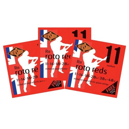 Rotosound R11 Roto Reds Snarenset voor Elektrische Gitaar (11-48) 3-Pack
