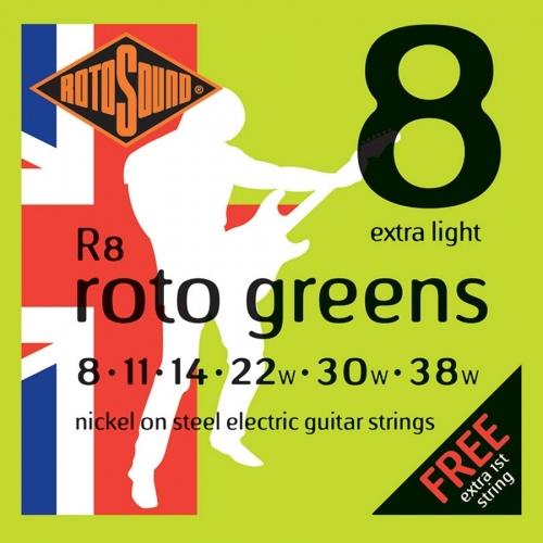 Rotosound R8 Roto Greens Snarenset voor Elektrische Gitaar (8-38)