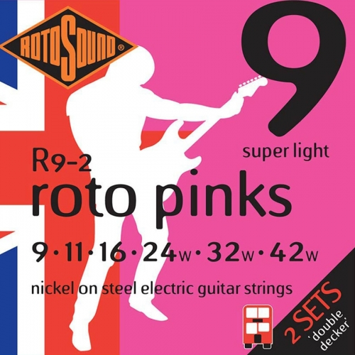Rotosound R9-2 Pinks Snarenset voor Elektrische Gitaar (9-42) 2-Pack