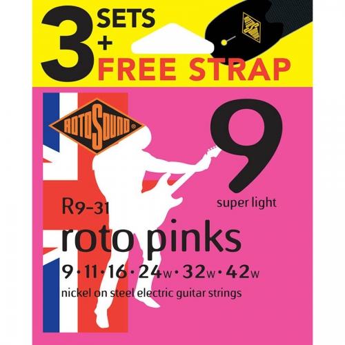 Rotosound R9-31 Pinks Snarenset voor Elektrische Gitaar met Gratis Gitaarriem (9-42)