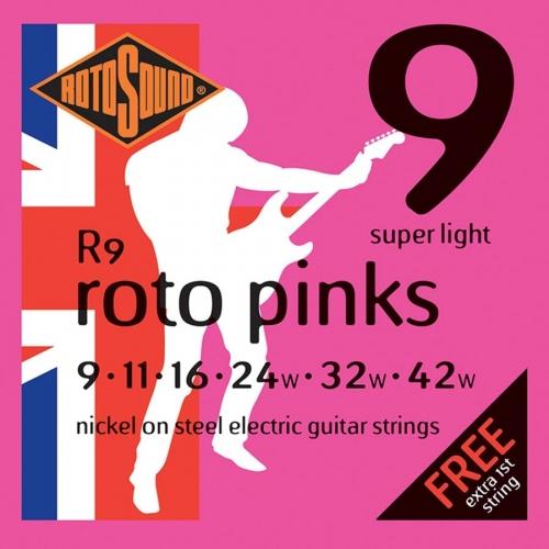 Rotosound R9 Roto Pinks Snarenset voor Elektrische Gitaar (9-42)