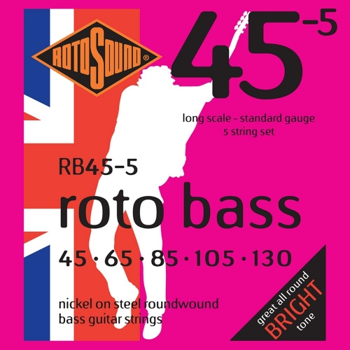 Rotosound RB45-5 Roundwound Bassnaren voor 5-Snarige Elektrische Basgitaar (45-130)