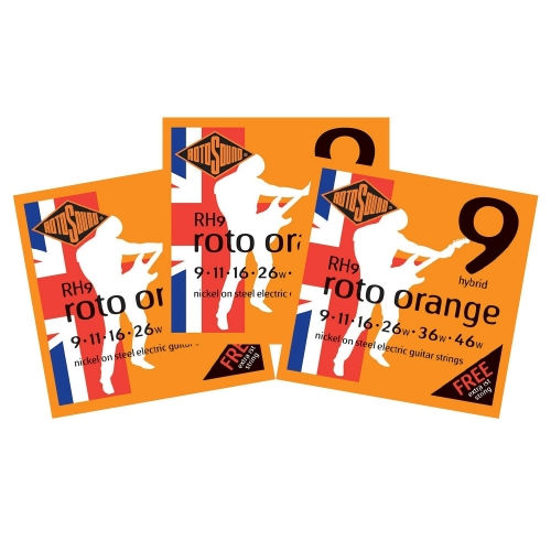 Rotosound RH9 Roto Orange Snarenset voor Elektrische Gitaar (9-46) 3-Pack