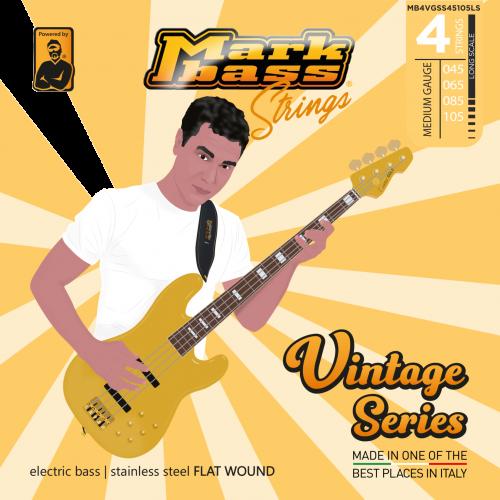 Markbass MB4VGSS45105LS Vintage Series Flatwound Bassnaren (45-105)