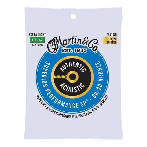 Martin MA180 Snaren voor 12-Snarige Akoestische Gitaar (10-47) Bronze, Extra Light