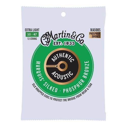 Martin MA500S Silked Snaren voor 12-Snarige Akoestische Gitaar (10-47) Phosphor Bronze, Extra Light