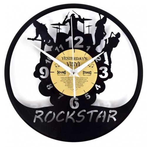 Yesterday's vinyl klok met Rockstar illustratie. Gemaakt van oude LP's.