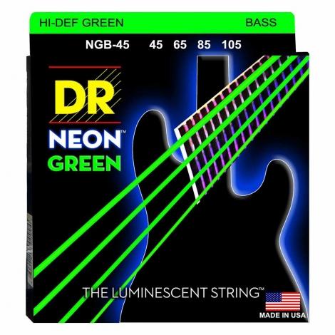 DR Strings NGB45 Neon Green Bassnaren Coated (45-105)