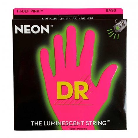 DR Strings NPB5-45 Neon Pink Bassnaren 5-Snarig Coated (45-125)