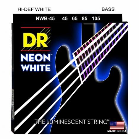DR Strings NWB45 Neon White Bassnaren Coated (45-105)