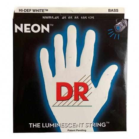 DR Strings NWB5-45 Neon White Bassnaren 5-Snarig Coated (45-125)