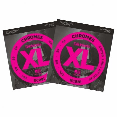 D'Addario ECB81 Flatwound Bassnaren Chromes Long Scale (45-100) 2-Pack