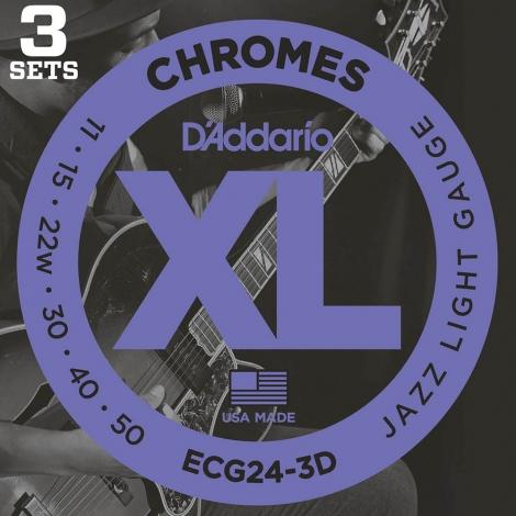 D'Addario ECG24-3D Flat Wound Chromes Snaren voor Elektrische Gitaar (11-50) 3-Pack