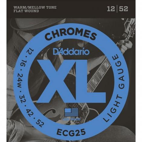 D'Addario ECG25 Flat Wound Chromes Snaren voor Elektrische Gitaar (12-52)