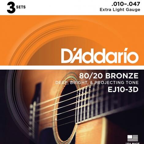 D'Addario EJ10-3D Bronze Westernsnaren (10-47) 3-Pack