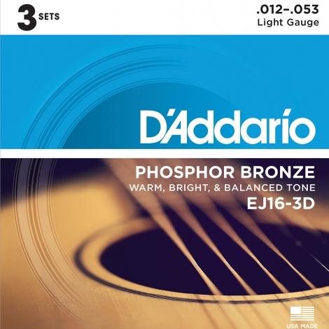 D'Addario EJ16-3D Phosphor Bronze Westernsnaren 3-Pack (12-53)