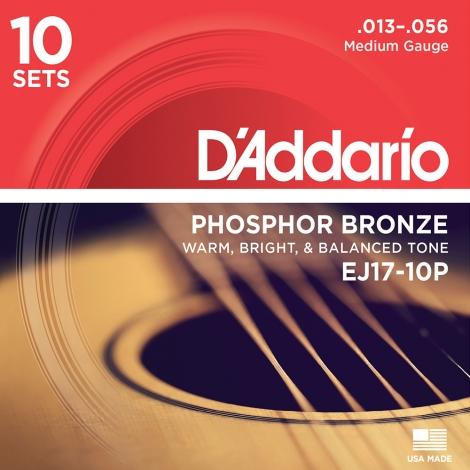 D'Addario EJ17-10P Snaren voor Akoestische Gitaar (13-56) 10-Pack