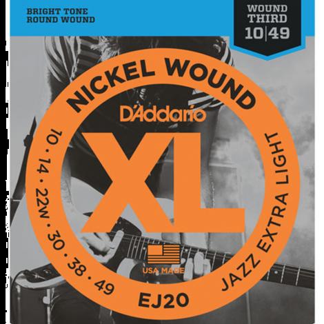 D'Addario EJ20 Nickel Wound Snaren voor Elektrische Gitaar (10-49)