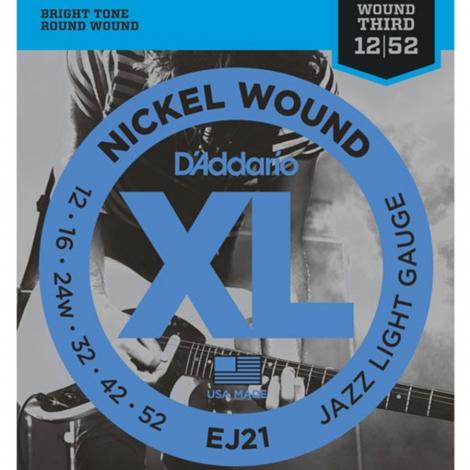 D'Addario EJ21 Nickel Wound Jazz Snaren voor Elektrische Gitaar (12-52)