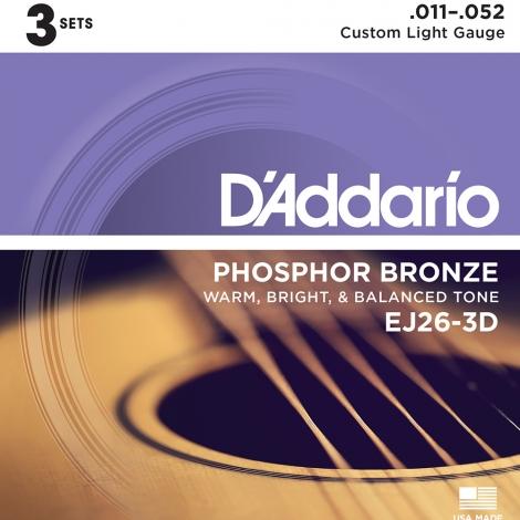 D'Addario EJ26-3D Phosphor Bronze Westernsnaren 3-Pack (11-52)