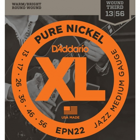 D'Addario EPN22 Pure Nickel Jazz Medium Snaren voor Elektrische Gitaar (13-56)
