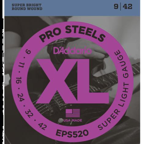 D'Addario EPS520 ProSteels Snaren voor Elektrische Gitaar (9-42)