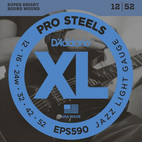 D'Addario EPS590 ProSteels Jazz Snaren voor Elektrische Gitaar (12-52)