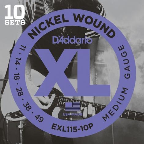 D'Addario EXL115-10P Snaren voor Elektrische Gitaar (11-49) 10-Pack